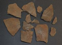 A group of 12 x assorted larger shards of rare Early Anglo Saxon Pagan period pottery, Suffolk SOLD
